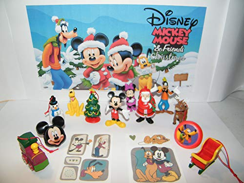 HappiToys Mickey Mouse Clubhouse Christmas Holiday Figure Set with 10 Fun Figures, 2Rings and Tattoos Featuring Mickey, Santa, Pluto, Rein Deer, Sled, Goofy and More!