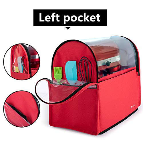 Yarwo Visible Stand Mixer Cover Compatible with 6-8 qt KitchenAid Mixer, Dust Cover with Multiple Pockets for Extra Kitchen Accessories, Red