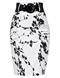 Belle Poque White Floral Pencil Skirts Women Knee Length Party Skirts M, Floral-5