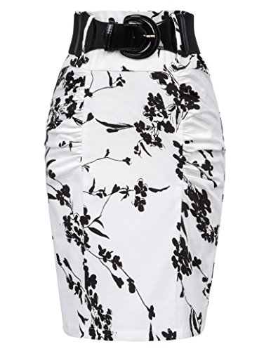 Belle Poque Elastic Waist Stretchy Office Business Pencil Skirt L, Floral-5