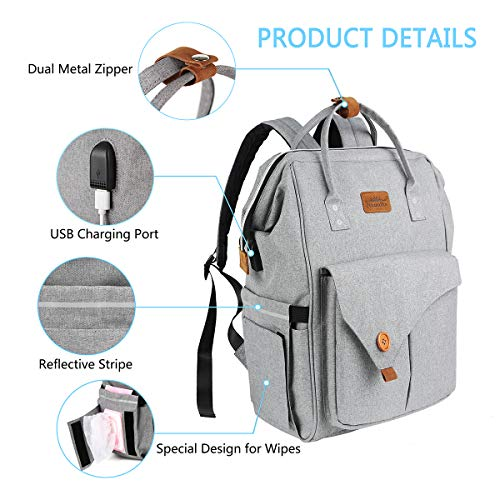 Niumikeマザーズバック、USBポート付きリュック、多機能パック、スタイリッシュなママ旅行バックパック、オムツ交換シート、防水ポケット、ベビーカーかけるベルト、ママグッズ大量に入れるママパック (ライトグレー)
