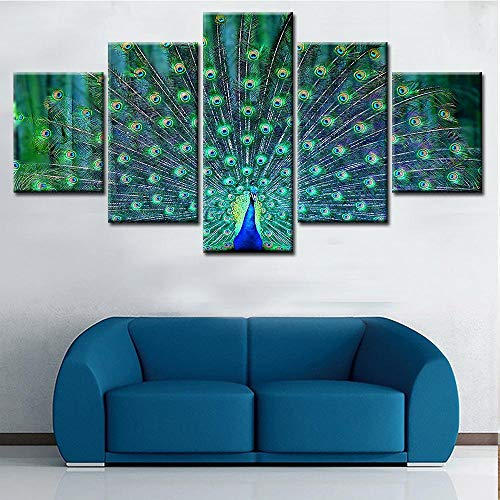 ZGFFCP Pangoo Modern 5 Plate Peacock Animal Picture Print Spray Canvas Painting Wall Artist Residence Decorative Living Room Art Great Gift,30X40 30X60 30X80Cm