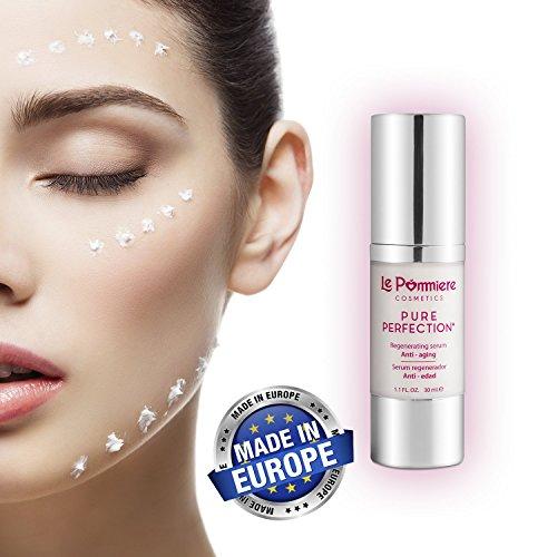 Le Pommiere serum facial hidratante ácido hialurónico antiedad 30ml. Anti arrugas piel normal, seca, grasa o mixta con vitamina A retinol, C, E, colágeno, coenzima Q10, aloe vera. Hombre & mujer
