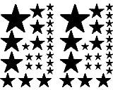 Samunshi® Juego de pegatinas de estrellas rellenas para coche (negro redondo 070)