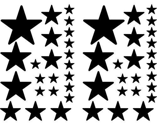Samunshi Juego de pegatinas de estrellas rellenas para coche (negro redondo 070)