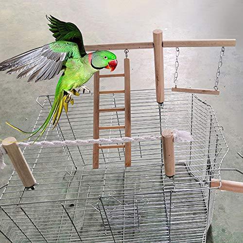 Tangbasi Pet Bird Depressing Toys - Papegaai Houten Katoen Touw Perch Swing Cage Hangende Ladder Kauwspeelgoed, Wood Color