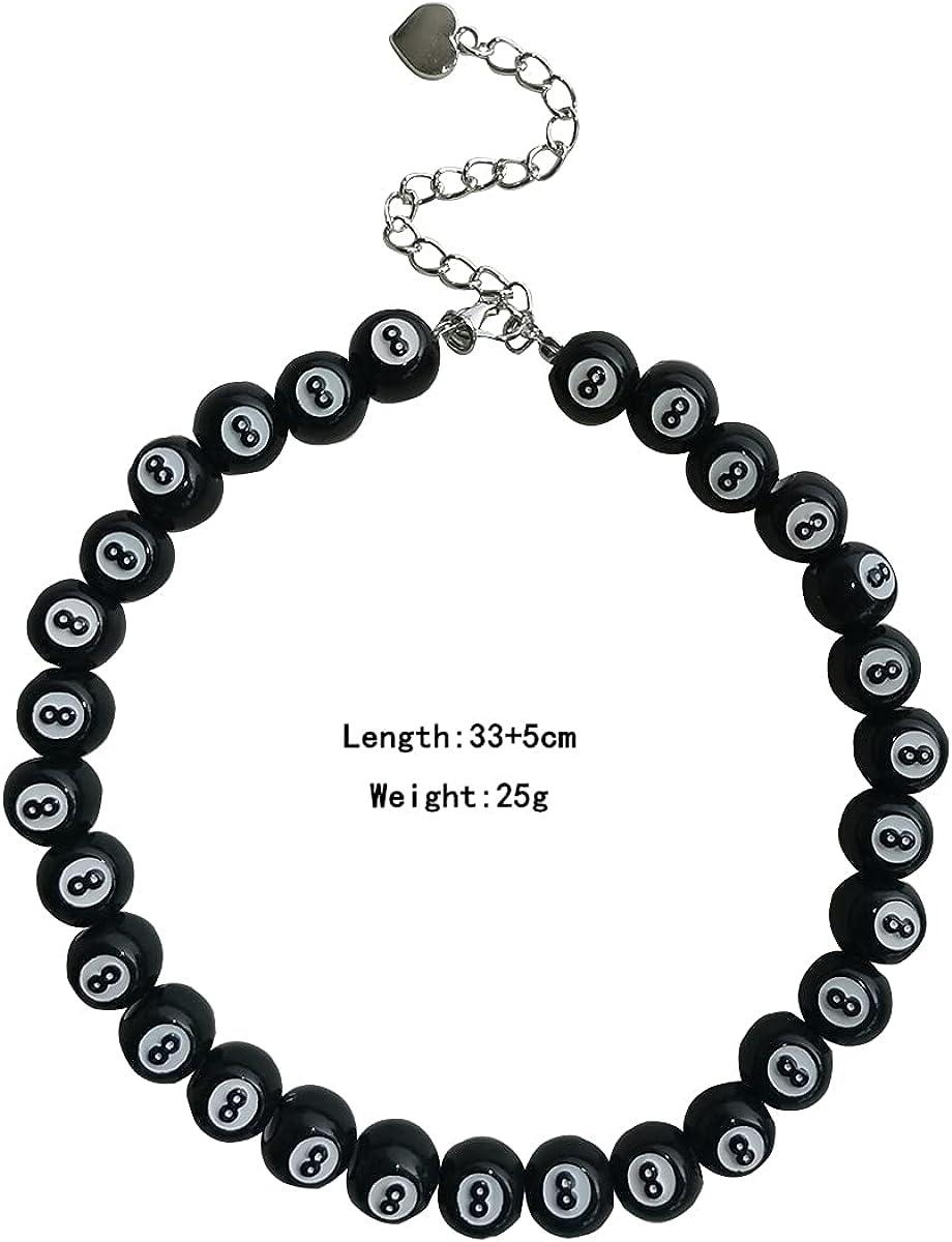 Billiard 8 Ball Choker Necklace Black # 8 Lucky Vintage Statement Y2K Goth Punk Cool Indie Creative Necklace Bracelet for Women Men