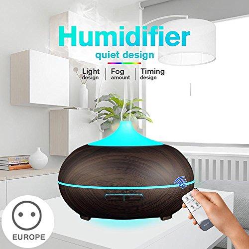 lzndeal Difusor de Aceite Esencial del Aroma 500ml difusor de Aire ultrasónico del Grano de Madera 7 Colores cambian la luz del LED