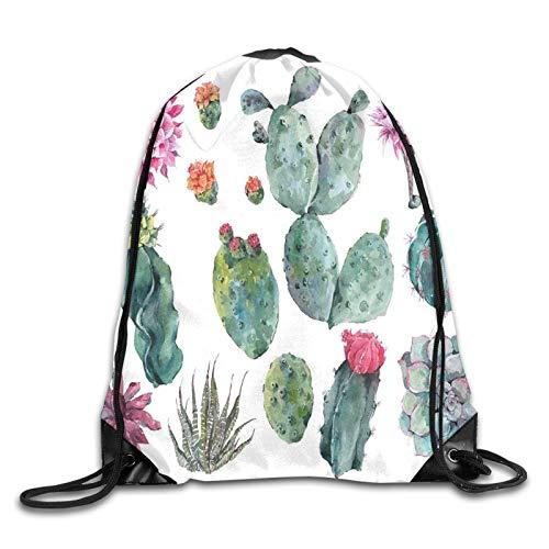 Drawstring Gym Bag Backpack,Desert Botanic Herbal Cartoon Like Cactus Plant Flower With Spikes Print,Rucksack for School Sports Travel Women Children Birthday Present