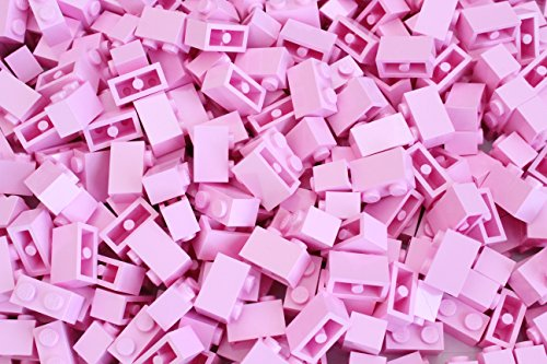LEGO Ladrillos: Rosa Brillante 1x2. Parte 3004 (X 100)