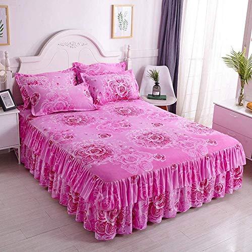ZXYY Beddrok met bloemenpatroon, sprei met volant, elastisch, matrasbeschermer, hoeslaken met soepele onderkant, bedlaken van katoen, 180 x 200 cm (71 x 79 inch)