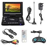 Queiting Portable DVD Player with 7.8 Inch Large HD Swivel Screen Digital Multimedia Player, Support SD card USB CD DVD with AV IN/OUT,Suit for Kids/Parent at Home/Travel, Black
