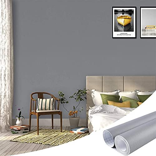 Papel Adhesivo Para Muebles Gris, Vinilos para Muebles Papel Pintado Pared Impermeable para Bricolaje Reformado Pared Armario Puerta de Mesa Sala de Estar Dormitorio 40 x 500cm