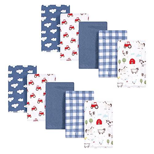 Hudson Baby Unisex Baby Cotton Flannel Burp Cloths  Boy Farm Animals  One Size