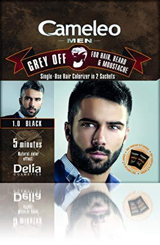 Cameleo Men Hair Beard Mustache Black Color Cream Grey OFF - Ammonia, PPD Free, 5 min (pack of 3)