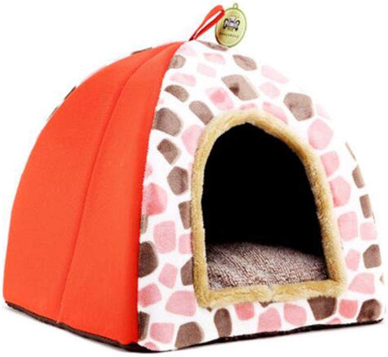 FH Pet Supplies Cat Litter Kennel Pet Nest Than Bear Nest (color   orange, Size   L45X45X40cm)