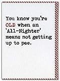 Tarjeta de cumpleaños divertida con texto en inglés «All-Nighter» de Brainbox Candy