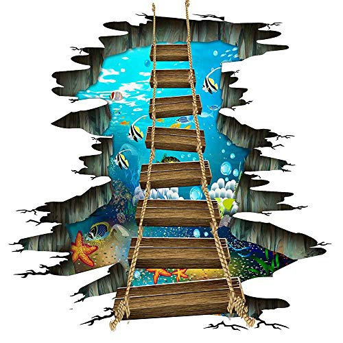 3D Floor Stickers,Underwater Sea World Starfish Colorful Fishes Removable Love Ocean Cute Wooden Suspension Bridge PVC Art Wall Decal for Bathroom Floor Living Room Nursery Bedroom Decor