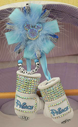 Personalised Stunning sparkly boxing gloves pram charm in blue bling rhinestones