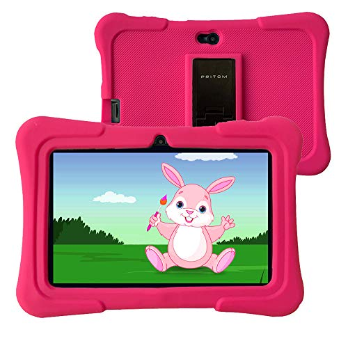 Pritom 7 inch kindertablet, Quad Core Android, 1 GB RAM + 16 GB ROM, WiFi, Bluetooth, dubbele camera, training, spelletjes, kinderslot, kindersoftware vooraf geïnstalleerd met kindertabletbehuizing (roze)