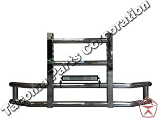 Longroadaccess Kenworth T660 Front Bumper Guard. Grille Guard, Deer Guard, Brush Guards - Square - Fits Kenworth T660-22 inch LED bar 120W led Light bar Included