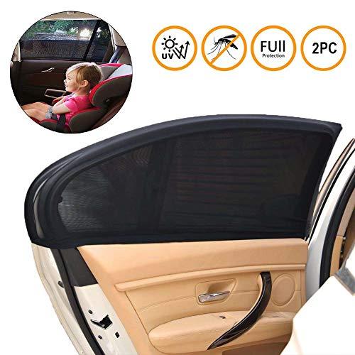 SeWooo Zonnescherm voor baby/kinderen, met uv-bescherming voor kinderen/hond op de achterbank, eenvoudige installatie, zijramen zonder zuignap, anti-muggen en privacy