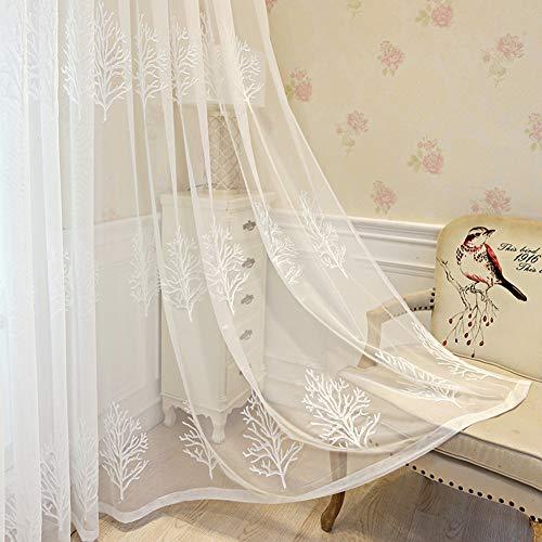 Blanc Broderie Rideaux Voile Arbre À Oeillets Rideaux Voilage Maison Salon Cuisine Chambre Balcon Tulle Rideaux 2 Panneaux,Blanc,W200xL250cm