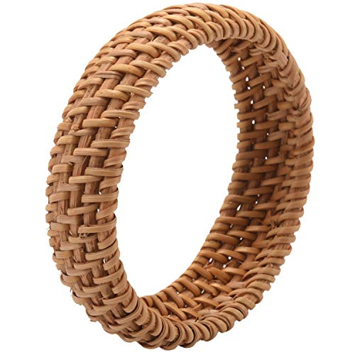 Senmubery Ethnic Style Hand-Woven Rattan Bracelet Simple Big Round Rattan Bracelet Ladies Jewelry