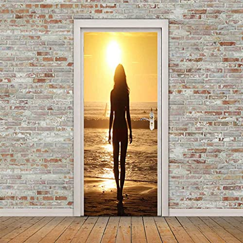 NXCNTD 3D Etiqueta De La Puerta Chica al atardecer junto al mar Impermeable Extraíble Bricolaje Pintura Mural Murales Autoadhesivos Papel Tapiz Interiores Puerta Del Dormitorio Decoracion 77x200cm