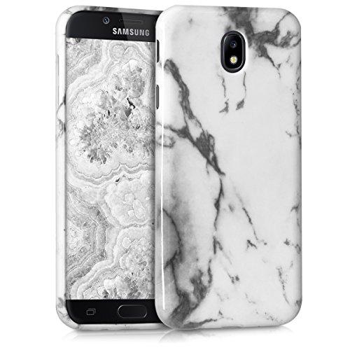 kwmobile Hülle kompatibel mit Samsung Galaxy J7 (2017) DUOS - Handyhülle Silikon Hülle - Marmor Weiß Schwarz
