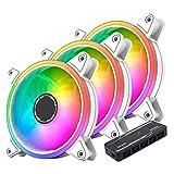 EASYDIY 120mm 白枠 ARGB PWMケースファン、ファンハブ付き、5Vマザーボード同期、 静音pwmタイプ、マザーボード同期, ASUS Aura Syncに対応- 3本1セット