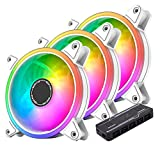 EZDIY-FAB 120mm 白枠 ARGB PWMケースファン、ファンハブ付き、5Vマザーボード同期、 静音pwmタイプ、マザーボード同期, ASUS Aura Syncに対応- 3本1セット