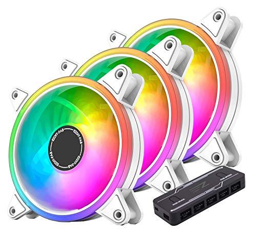 EZDIY-FAB Weiß Moonlight RGB PWM Gehäuselüfter 120mm mit RGB PWM Lüfter Hub, Motherboard RGB Sync, ARGB PWM Lüfter für PC Gehäuse,Multiple Light Modes-3 Pack