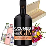 English Drinks Company Cucumber Gin Gift Set in Wooden Box, Bouquet of 30 Mixed Freesias, Three unique bottles of Tonic and Name-a-Rose Gift