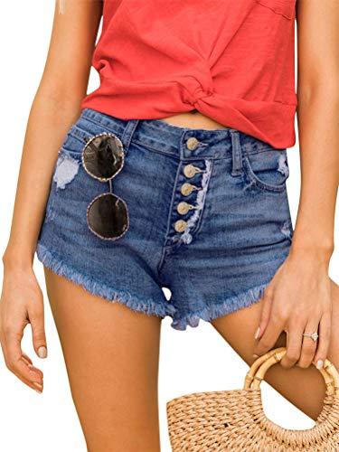 Women Summer Casual Mid Rise Shorts Frayed Raw Hem 5-Pockets Ripped Denim Jean Hot Fashionable Shorts Dark Blue Medium