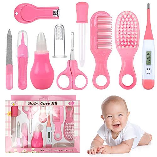 Rainmae Babypflegeset,Baby Erstausstattung Pflegeset,Pflegeset Neugeborene 10-teilig, mit Nasensauger Kamm Nagelschere für Neugeborene