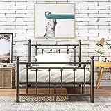 Estructura de cama de metal de alta calidad con cabecero y reposapiés, somier individual, cama para dormitorio de niños, jóvenes y adultos (90 x 200 cm)