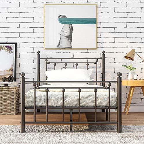 Merax Metallbett Einzelbett/Doppelbett Bettgestell,Kinderbett Jugendbett Bettgestelle für Schlafzimmer Gästezimmer (90 X 200)