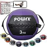 POWRX Wall Ball con Asas Laterales 3 kg - Ideal para Ejercicios de »Functional Fitness«, fortalecimiento y tonificación Muscular - Agarre Antideslizante + PDF Workout (Violeta)