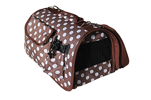 BPS (R) Portador Transportín Bolsa Bolso de Tela (Lunares) para Perro, Gato, Mascotas, Animales,Tamaño: M,43.5x25x25cm (Marrón)