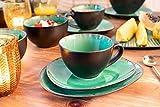 Sänger Kaffeeservice Palm Beach aus Porzellan 12 teilig   Füllmenge der Tassen 300 ml   Tafelservice mit Reisslack Effekt bestehend aus Tassen, ovalen Untertassen und Desserttellern in Vintage Optik - 3