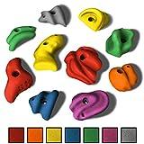 ALPIDEX 10 L/XL Klettergriffe im Set Henkel und Leisten mit Charakter, ergonomische, kantenfreie Oberflächen, guter Grip, setzbar auch als Zangen oder Sloper, Farbe:Mixed Colour