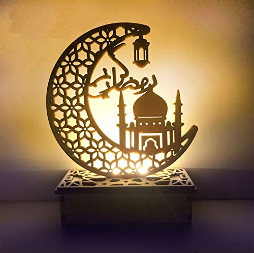 Ramadan Moon Decoration Light Wooden Eid Mubarak DIY Muslim Lighting Islamic Palace LED Moon Tabletop Decor Ramadan Decoration Home Light Ornament Kit for Home Party Supplies (Style H, 1PCS)