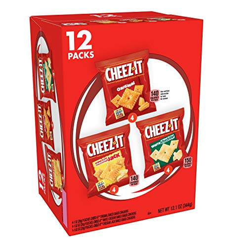 Cheez-It Baked Snack Cheese Crackers, Variety Pack, Original, White Cheddar, Cheddar Jack, 1.02 oz Bags (12 Count)(Pack of 4)
