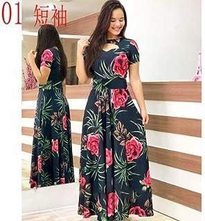 Elegant autumn Women's Dress 2020 Casual Bohemia Flower Print Maxi Dresses Fashion Hollow Out Tunic Dress Plus Size 5XL brand:TONWIN (Color : A short, Size : 5XL)