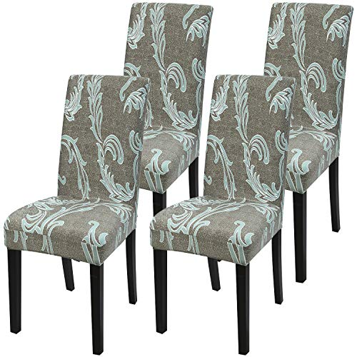 Fuloon 4 Pack Super Fit Stretch Removable Washable Short Dining Chair Protector Cover Seat Slipcover for Hotel,Dining Room,Ceremony,Banquet Wedding Party (Dark Green)