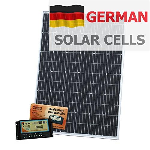 250W 12V Photonic Universe Dual batería Kit de Carga Solar Fabricado en alemán células solares, con 20A Controlador de Carga y Cable de 5m