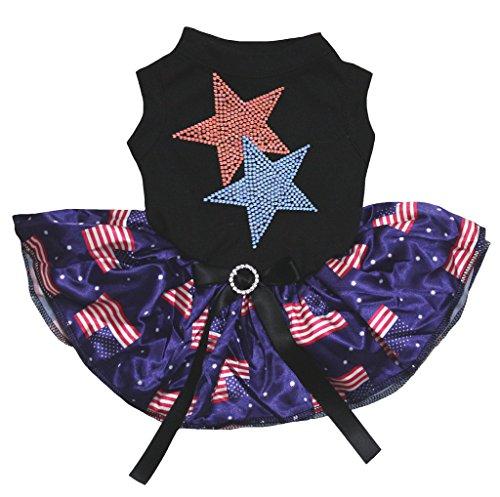 petitebelle Puppy Kleidung Kleid Bling Twin Star schwarz Top uns Flagge Blau Tutu