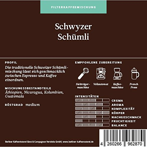 BKR   Kaffee   Schwyzer Schümli   Arabica   Mischung 1000g Bohne