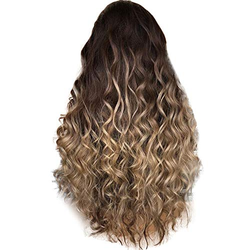 Perruque Femme Naturelle Marron Long Curly Sexy Mode Pas Cher SynthéTique Postiches BoucléS (Marron)